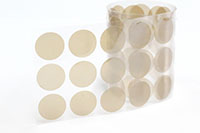"High-Density Teflon tape w/ silicone adhesive, 1"" diameter discs"